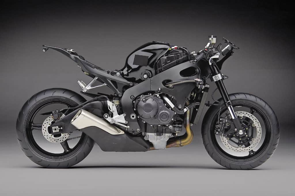 Chassis of the existing CBR100RR for comparison. The engine casing, brakes and the rearset looks similar to the spied prototype.
