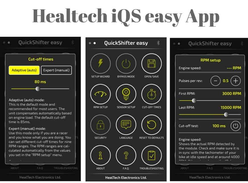 Healtech Quickshifter App available for iOS and Android